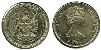 1 крона 1984 год Остров Мэн