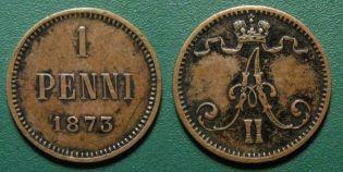 1 пенни 1873 год Русская Финляндия