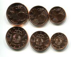 Набор монет евро центов Латвии 2014 год