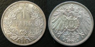 1 марка 1915 год (серебро) Германия