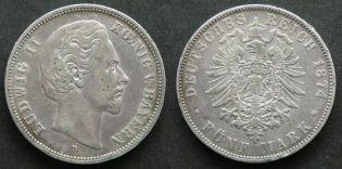 5 марок 1874 год D (серебро) Германия Бавария