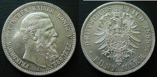 5 марок 1888 год A Германия, Пруссия