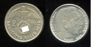 2 рейхсмарки 1938 год В Германия