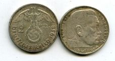 2 рейхсмарки 1938 год Германия