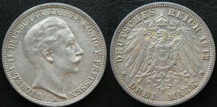 3 марки 1910 или 1912 год Германия, серебро А