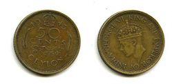 50 центов 1943 год Цейлон