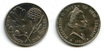 1 доллар 1981 год Новая Зеландия