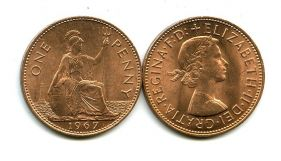 1 пенни 1967 год Великобритания