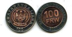 100 франков 2007 год (биметалл) Руанда