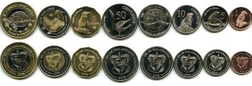 Набор монет Галапагосских островов