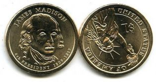 1 доллар 2007 год (Джеймс Мэдисон) США