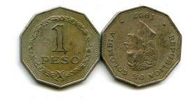 1 песо 1967 год Колумбия