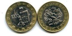 1000 лир 1997 год (биметалл) Сан-Марино