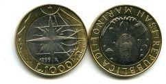 1000 лир 1999 год (биметалл) Сан-Марино