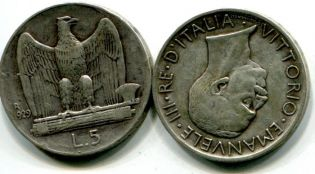 5 лир Италия 1929 год