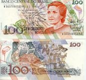100 новых крузадо 1989 год Бразилия