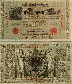 1000 марок 1910 год Германия