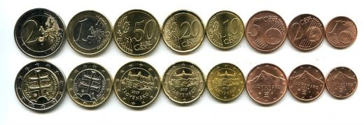 Набор монет евро Словакии 2009 год