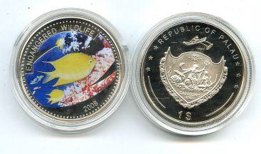 1 доллар 2008 год (жёлтая рыба) Палау