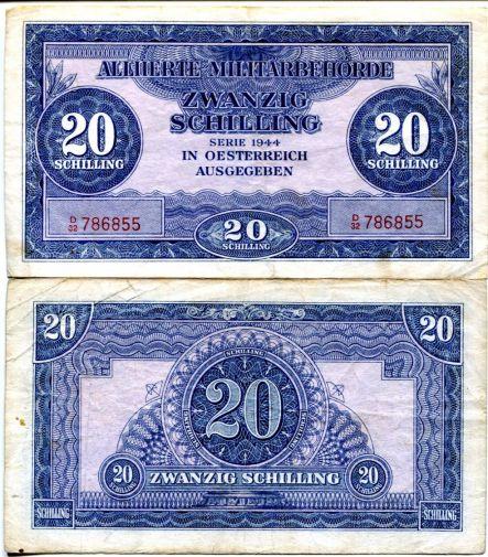 20 шиллингов оккупация Австрия 1944 год