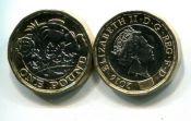 1 фунт 2016 год Великобритания