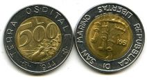 500 лир 1991 год Сан-Марино