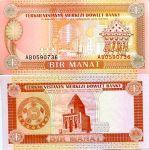 1 манат 1993 год Туркменистан
