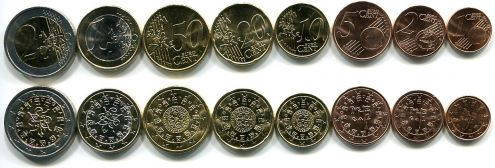 Набор монет евро Португалии 8 штук