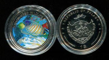 1 доллар 2008 год (рыбка полосатик) Палау