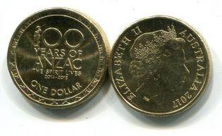 1 доллар 2017 год Австралия, Анзак