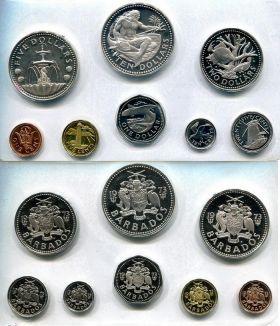 Набор монет Барбадоса 1973 год (10 лет независимости)