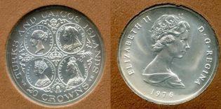20 крон 1976 год (серебро) Теркс и Кайокс