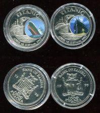 Набор монет Замбии 1000 квач 1998 год (Титаник)