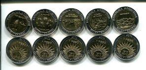 Набор монет Аргентины по 1 песо 2010 год (биметалл)