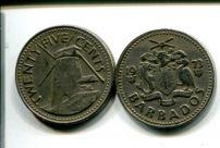 25 центов (года разные) Барбадос