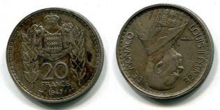 20 франков 1947 год Монако