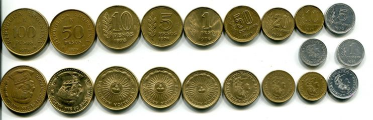 Набор монет Аргентины 10 монет