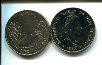 1 доллар 1980 год (птица) Новая Зеландия
