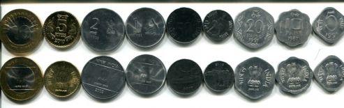 Набор монет Индии