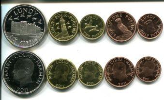 Набор монет острова Ланди (Великобритания) 2011 год