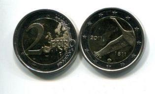 2 евро 2011 год (200 лет банку) Финляндия