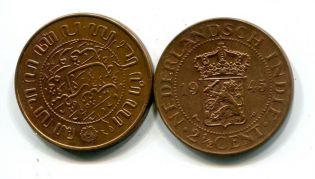 2 1/2 цента 1945 год Нидерландская Индия