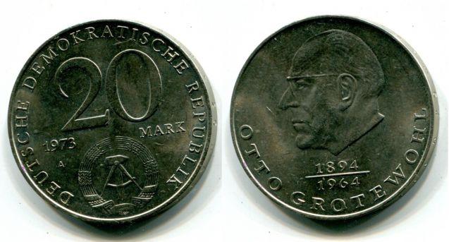 20 марок 1973 год (Отто Гротеволь) Германия (ГДР)