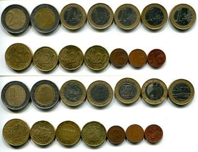 Набор различных монет евро