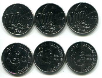 Набор монет Бразилии 1988 год