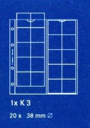 Лист в альбом Karat (а так же в альбом формата Numis) для монет на 20 ячеек