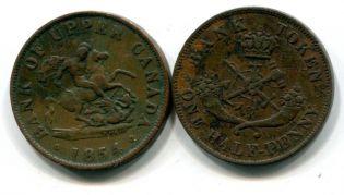1/2 пенни (токен) 1850, 1852, 1854, 1857 год Канада (верхняя)
