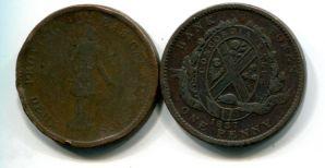1 пенни (токен) 1837 год Канада (нижняя)