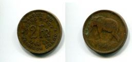 2 франка 1946 и 1947 год (слон) Конго