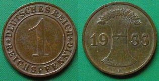 1 пфеннинг F 1933 год Германия